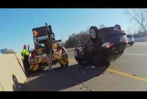 Driver Screams as Tow Truck Flips Car With Him Still Inside
