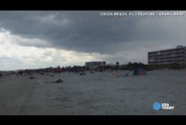 Wind picks up and tosses umbrellas at a Florida beach