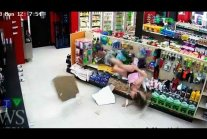 GIRL ROBBER FALLS THROUGH CEILING funny