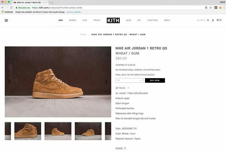 nike air jordan 1 retro qs wheat gum