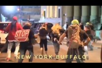 New York Protest - Pickup truck drives through protestors in Buffalo.