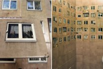 """""""WC For Architects"""": Old Toilet Wall Decorated With Photos Of Windows From..."""