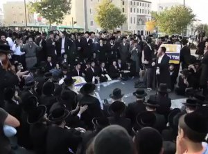 In Jerusalem, Israel, Jews protested against compulsory military service